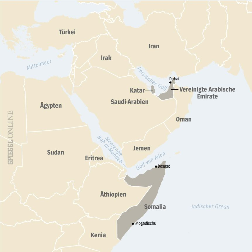 Karte Somalia VAE Katar V2
