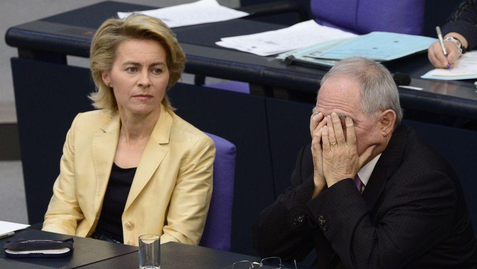 Kabinetts-Kollegen von der Leyen, Schäuble: Ist ein Kompromiss möglich?
