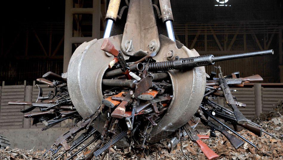 Zerstörte Waffen von Farc-Rebellen