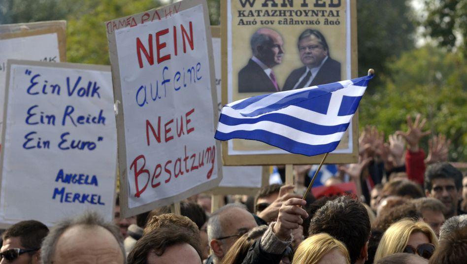 Protest in Thessaloniki, Griechenland: Export spürt Zurückhaltung der europäischen Partner
