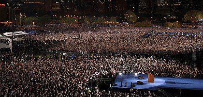 US President-elect Barack Obama speaking to thousands of supporters in Chicago once it became clear that he had been voted in as America's 44th president.