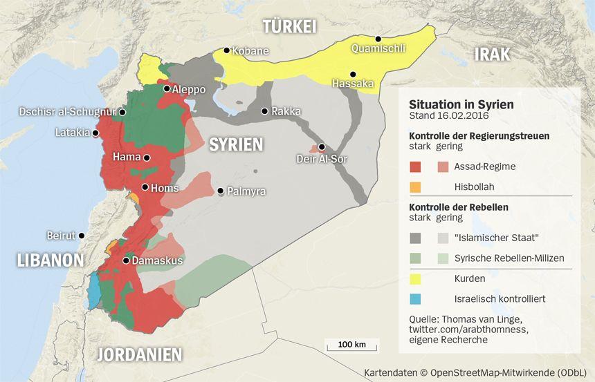 Grafik Karte Syrien - Stand 16.02.2016