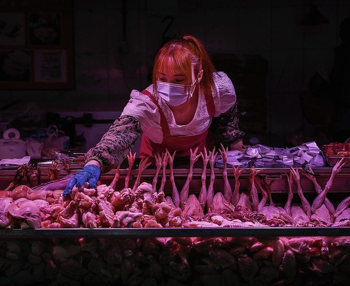 A meat saleswoman in Beijing on April 24
