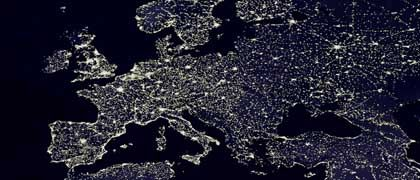 A satellite image of Europe at night: Residents of Western Europe's industrial nations waste enormous amunts of electricity, petrol, heating oil and gas. Without any noticeable decrease in quality of life, consumers could reduce their energy consumption by one-fifth.