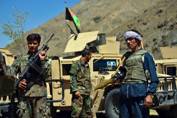 Fighters loyal to Ahmad Masoud, son of the late Ahmad Shah Masoud, in Panjshir province