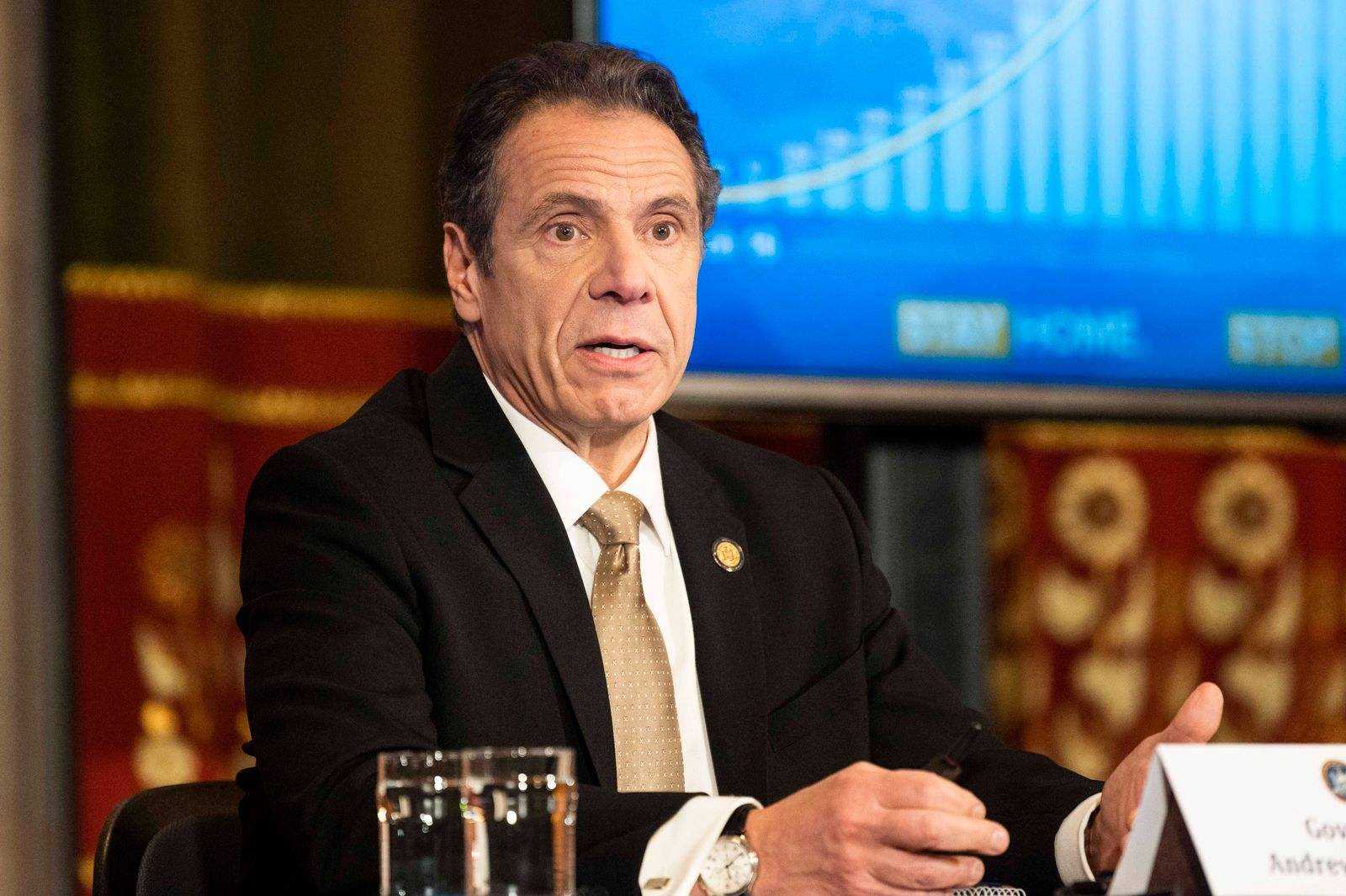 April 22, 2020, Albany, NY, U.S: April 22, 2020 - Albany, NY, United States: New York Governor ANDREW CUOMO (D) speaking