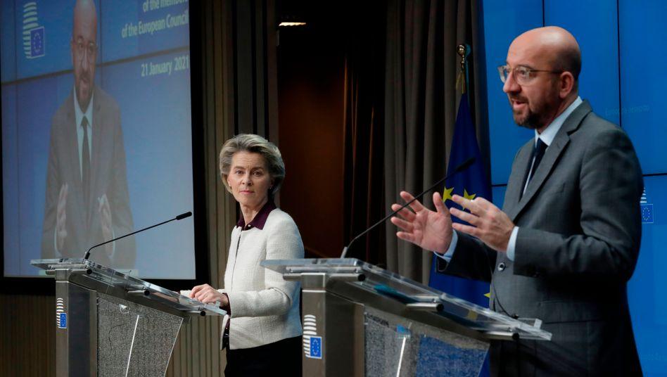 EU-Kommissionschefin Ursula von der Leyen und EU-Ratschef Charles Michel: Der Binnenmarkt soll trotz schärferer Reiseregeln weiter funktionieren können