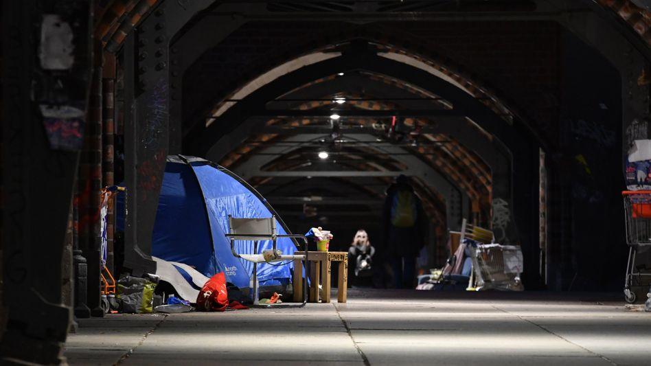 Zelt von Obdachlosen in Berlin