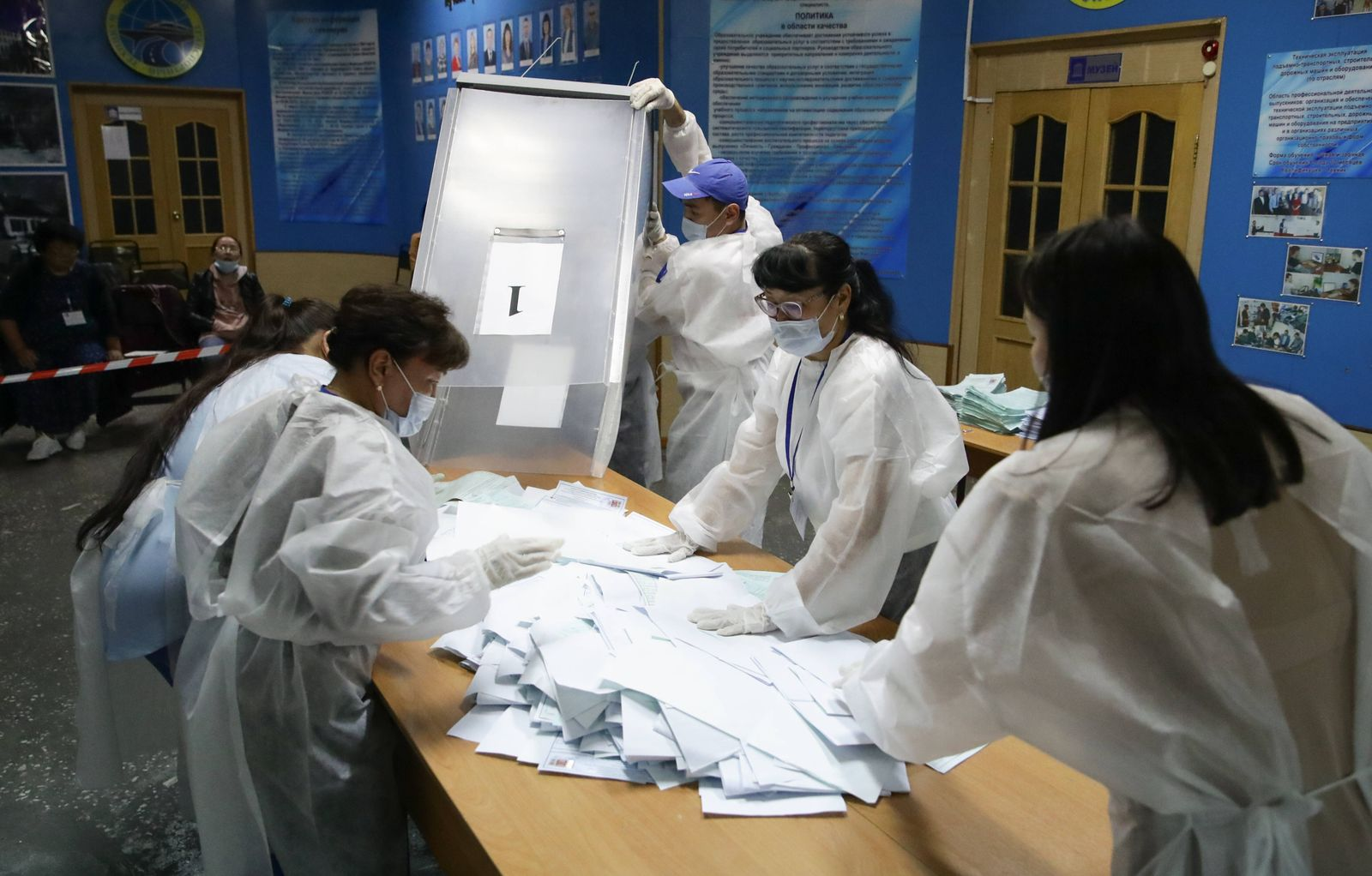 KYZYL, RUSSIA SEPTEMBER 19, 2021: Election officials at polling stations No 21 count votes in the 2021 Russian parlia