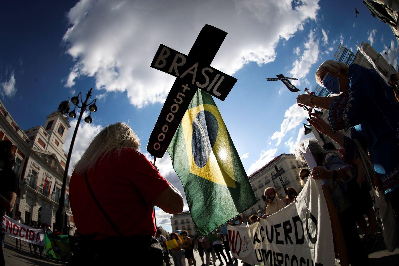 Demonstration against Brazil's president Jair Bolsonaro in Madrid