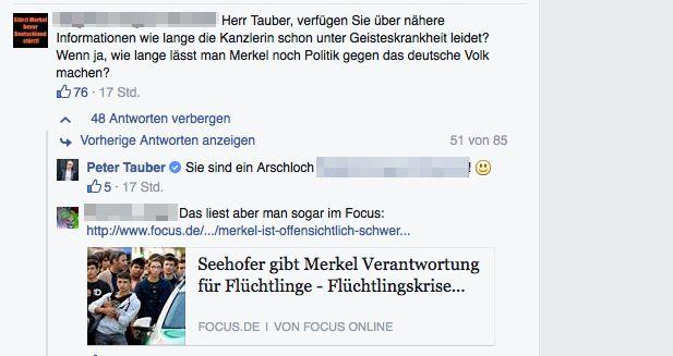 EINMALIGE VERWENDUNG NUR ALS ZITAT/ SCREENSHOT/ Peter Tauber Facebook