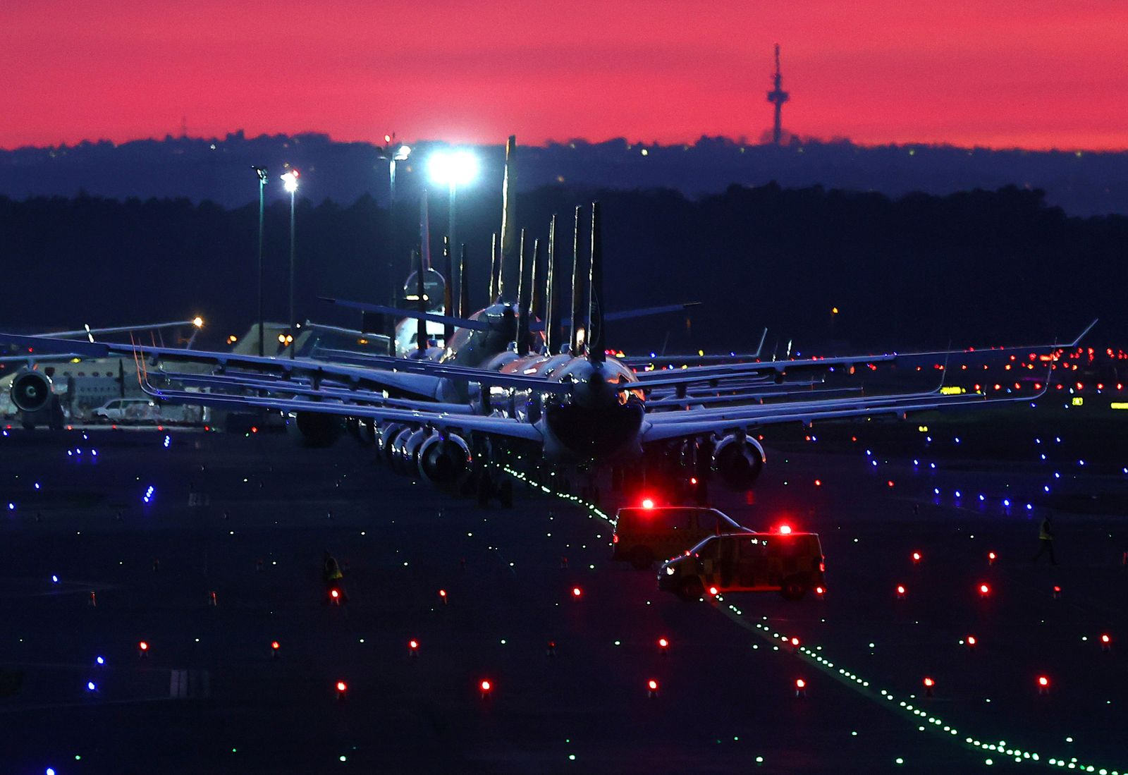 Air planes of German carrier Lufthansa are parked at the airport in Frankfurt