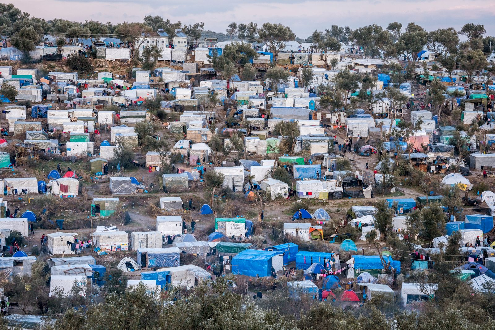 Overcrowding in Moria Greek camp for Migrants and refugees