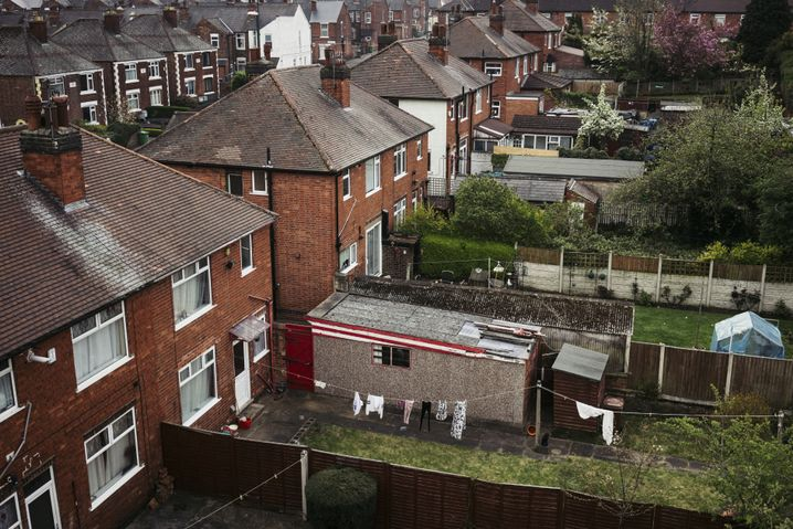 A typical English residential neighborhood in one of the poorer districts of Nottingham