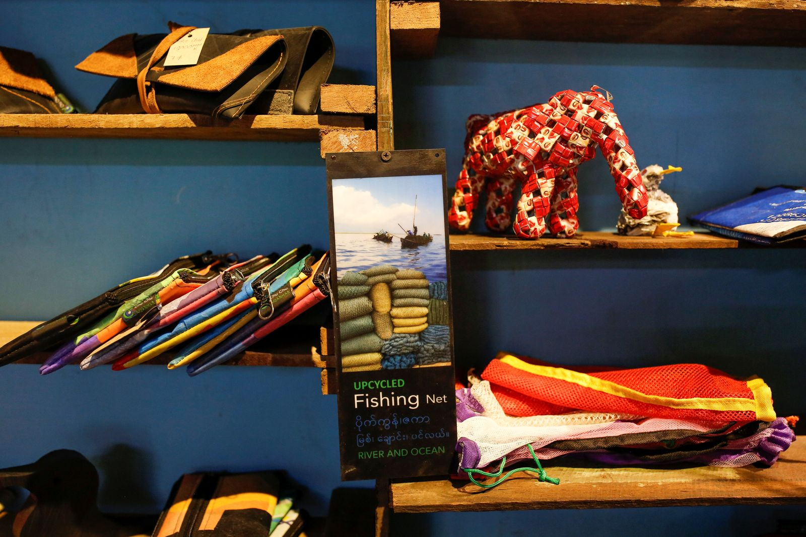 Recycled products are seen on display at ChuChu house in Dalla township, Yangon