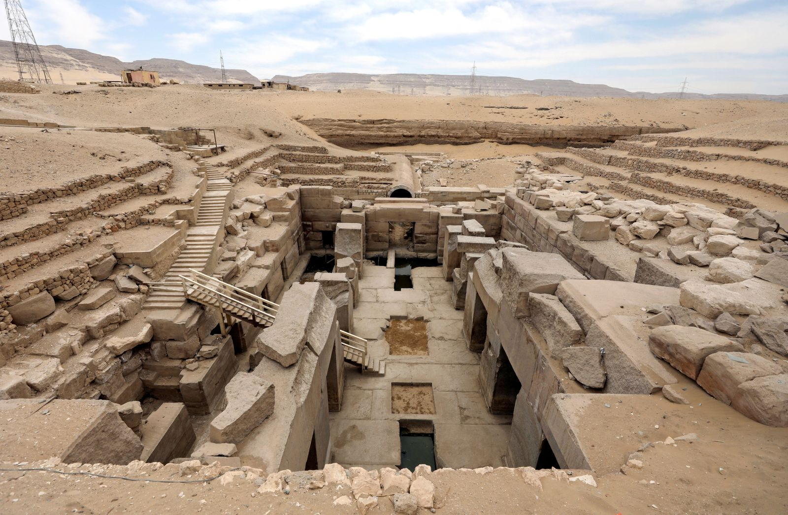 A general view of the new groundwater lowering project at Osirion, behind the Temple of Seti I, Abydos archeological site, Sohag