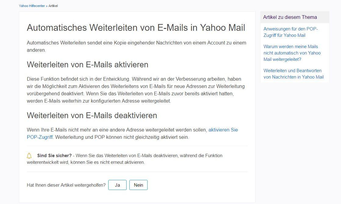 EINMALIGE VERWENDUNG Yahoo Mail/ Screenshot