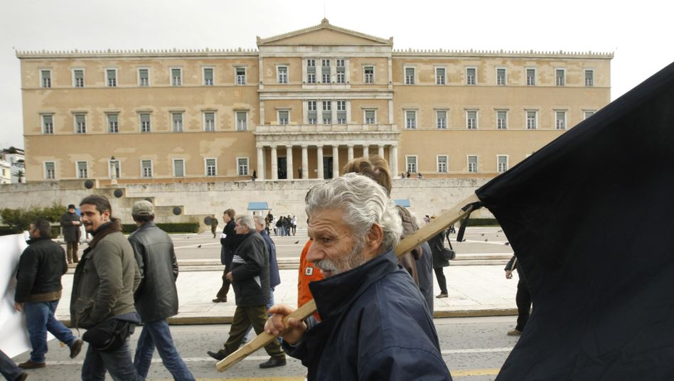 Greek farmers protest in front of the parliament in Athens on Jan. 25: Greece is desperately looking for a way out of its debt crisis.