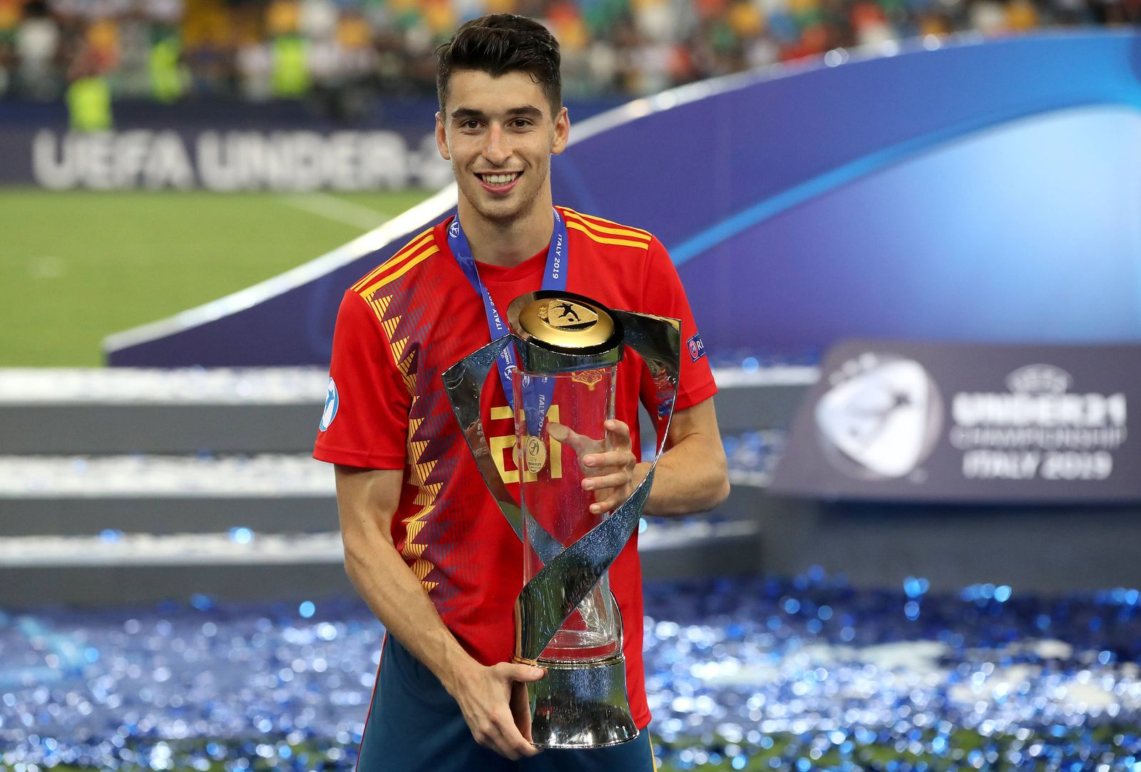 Spain U21, U 21 v Germany U21 - UEFA European Under-21 Championship - Final - Stadio Friuli Spain U21 s Marc Roca celeb