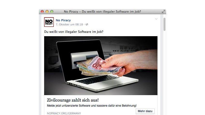 """""""No Piracy""""-Werbung auf Facebook (Screenshot): Geld gibt es nur in bestimmten Fällen"""