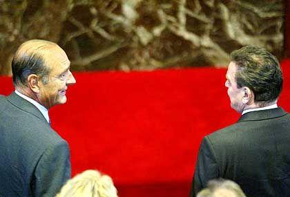 Chirac und Schröder im Schloss Versailles