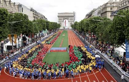 """""""Love of the Games:"""" An event on Paris's Champs Elysees advertising the city's Olympic bid drew over a million participants in June."""