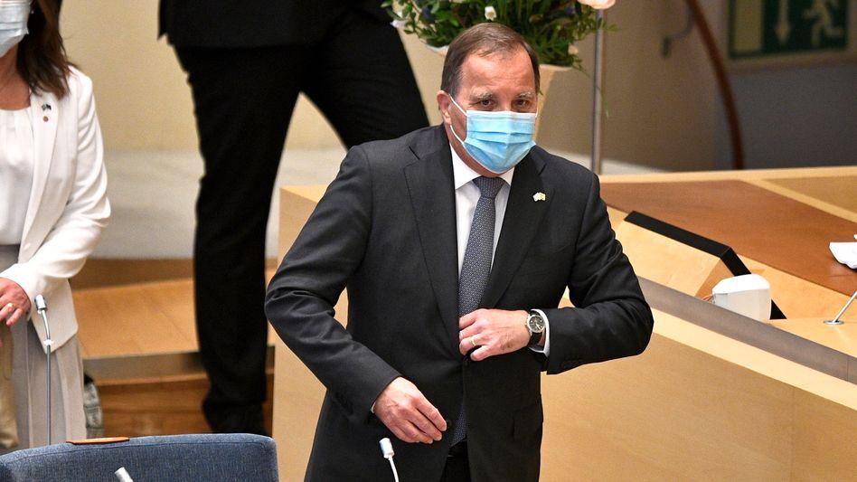 Der schwedische Ministerpräsident Stefan Löfven kurz vor der Misstrauensabstimmung