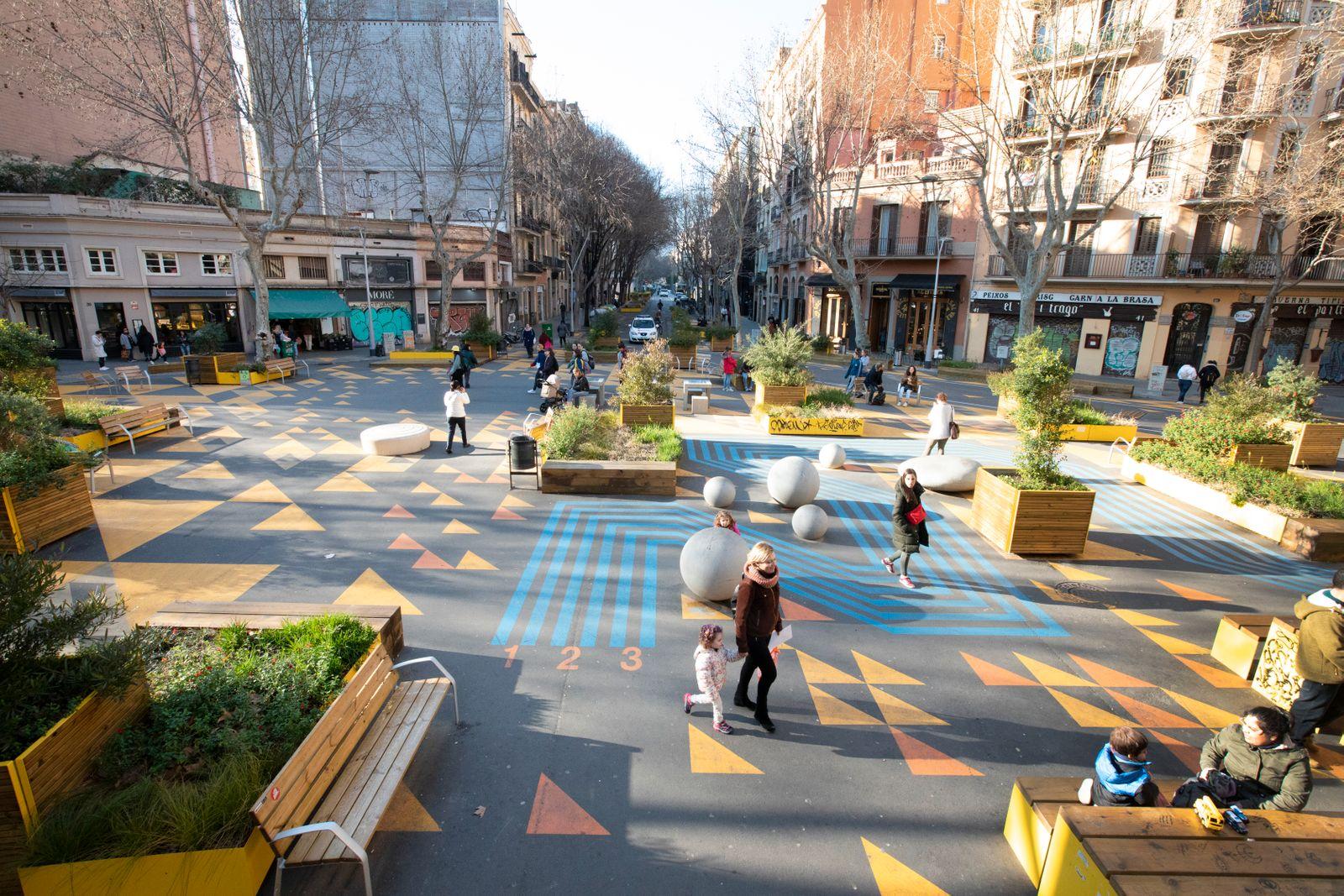Spanien, Katalonien, Barcelona, Superblock Projekt, Stadtteil Sant Antoni, Superblock Cale del Conde Borrel mit Calle Parlament.