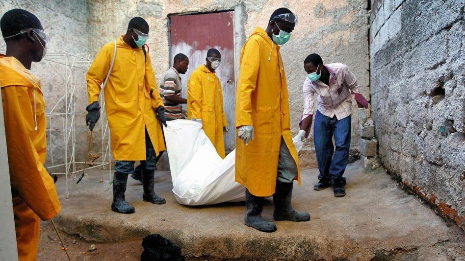 Abtransport eines Cholera-Opfers in der Hauptstadt Port-au-Prince