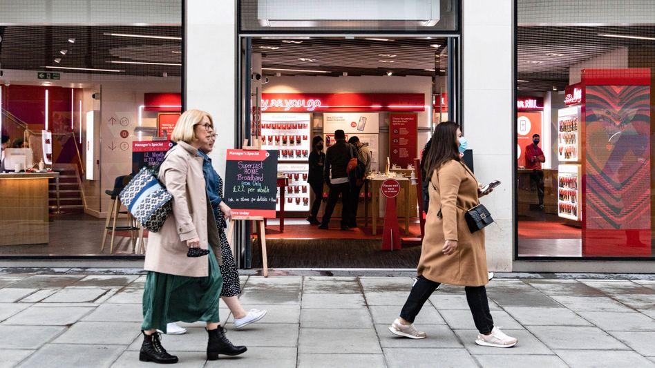 Ein Vodafone-Shop in London