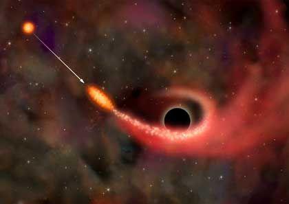 """Galaxie RX J1242-11 (Zeichnung): """"Letzter Hilfeschrei"""" eines sterbenden Sterns"""