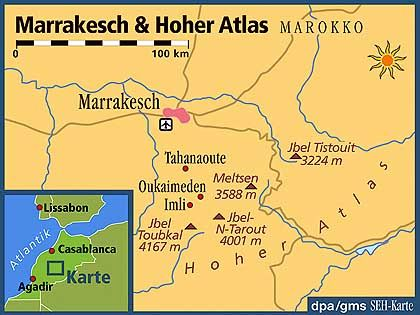 Marrakesch liegt am Fuße des Hohen Atlas
