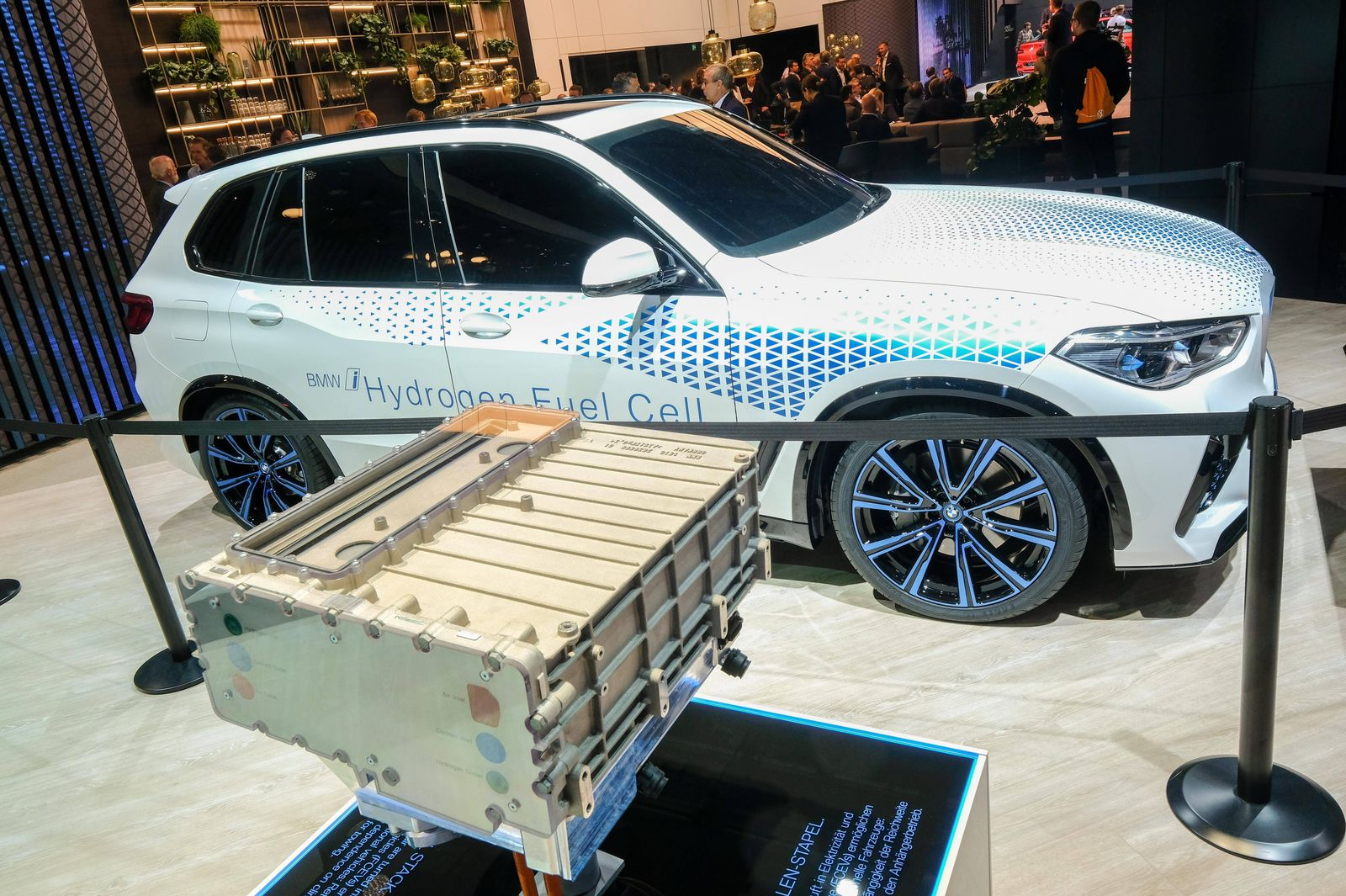 BMWi Hydrogen Fuel Cell car and Fuel Cell Block on the IAA 2019 international automobile exhibition