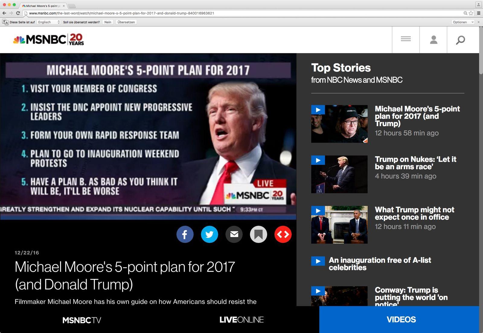 NUR ALS ZITAT VERWENDEN Michael Moore/ 5-Punkte Plan für 2017