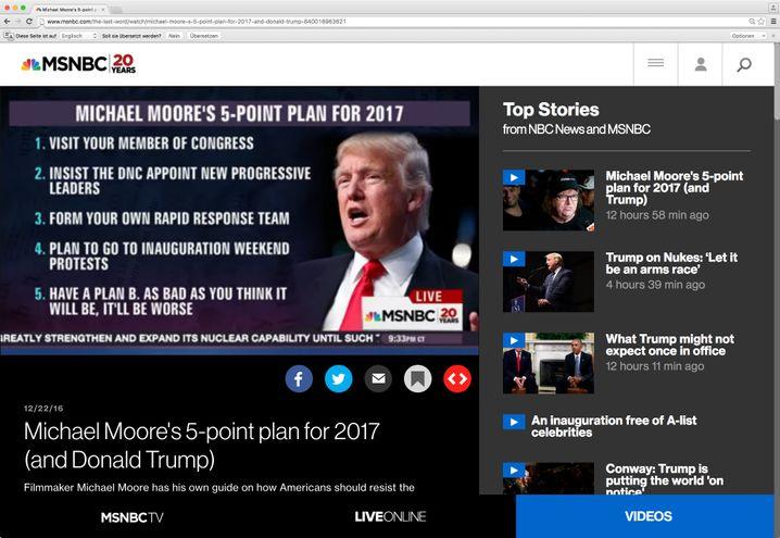 5-Punkte Plan für 2017 nach Michael Moore, Screenshot von MSNBCTV