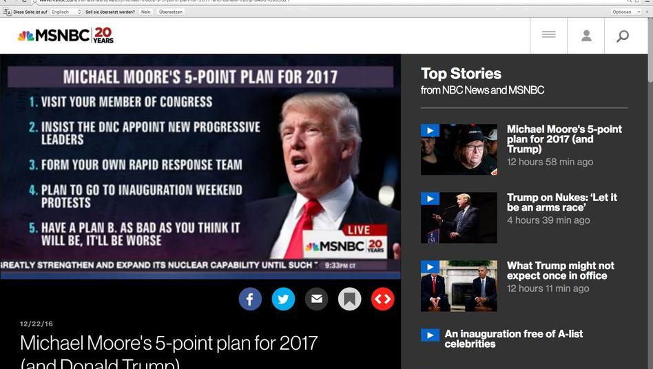 """Michael Moores Plan für 2017, Screenshot aus der MSNBC-Sendung """"The Last Word with Lawrence O'Donnell"""""""