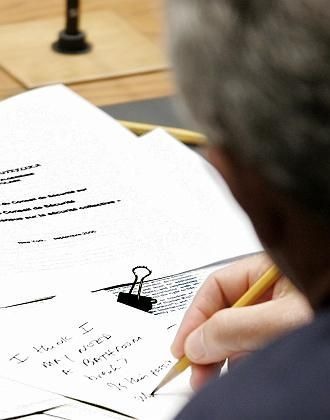 Bushs Notiz: Bitte um eine Pinkelpause