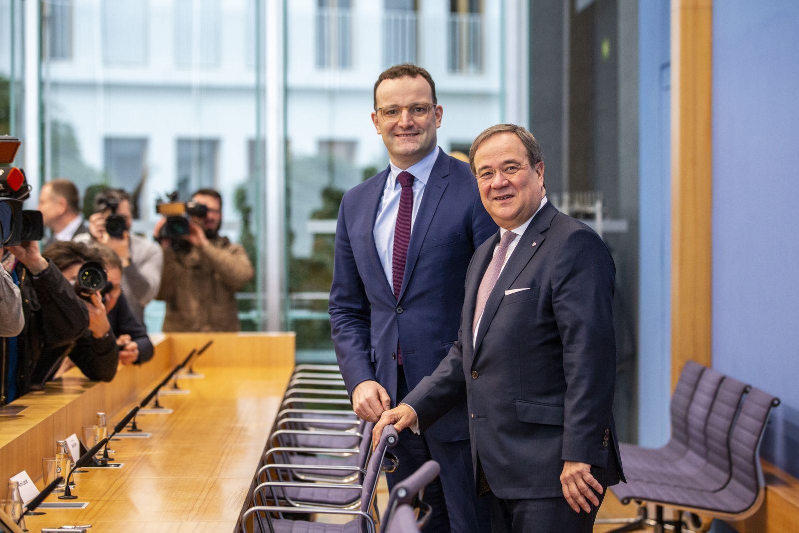 ***BESTPIX*** Merz And Laschet Announce CDU Leadership Candidacies, Spahn Declines
