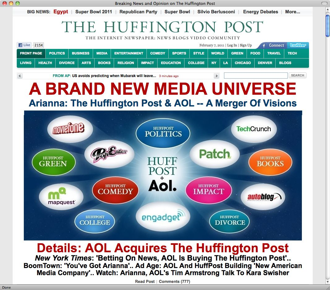 Huffington Post/ AOL/ Screenshot