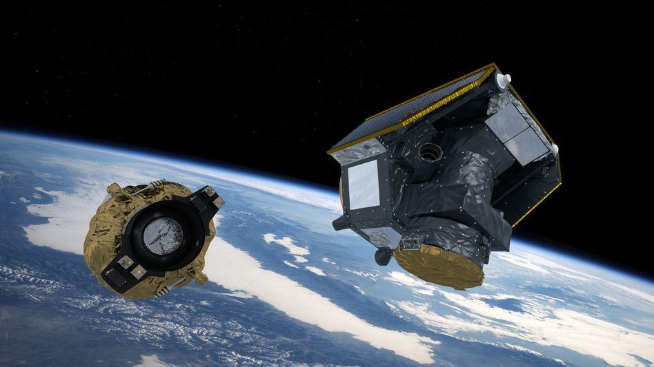 """Esa-Mission Cheops, kurz nachdem sich der Satellit vom """"Fregat""""-Teil der Trägerrakete gelöst hat (Künstlerische Darstellung)"""