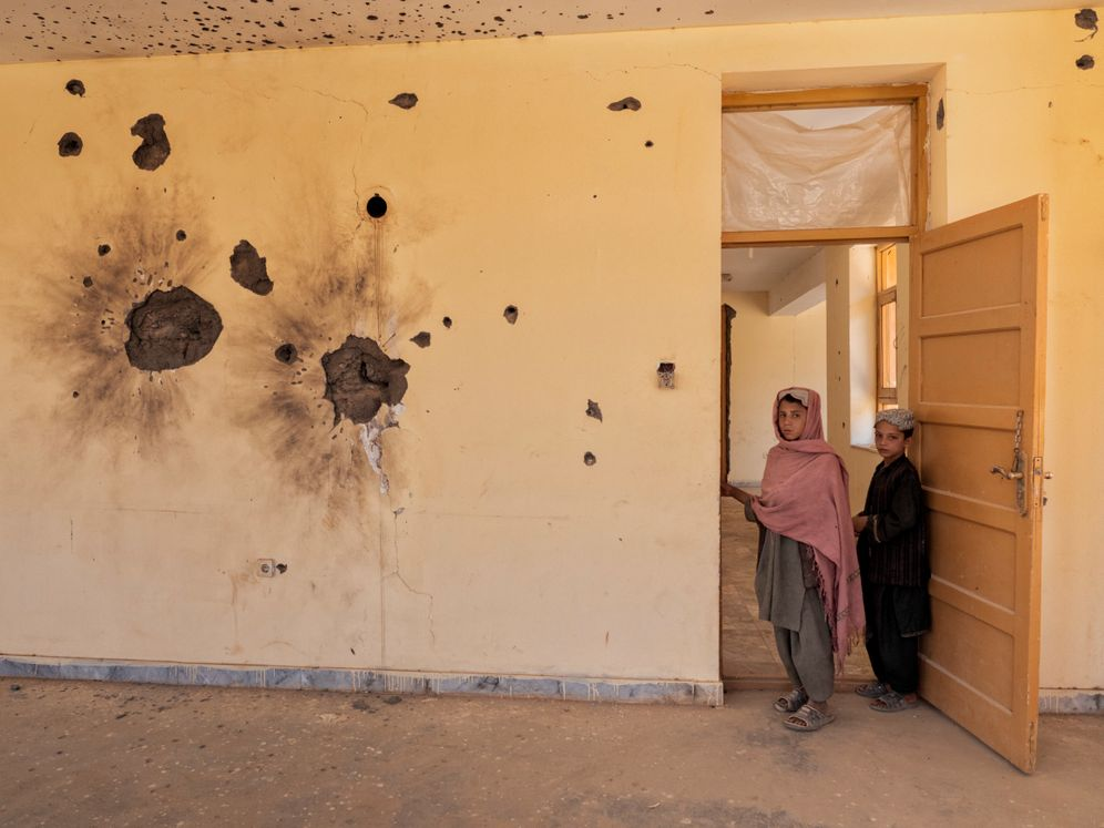 This building in Gizab was damaged during fighting between the Taliban and former government forces.