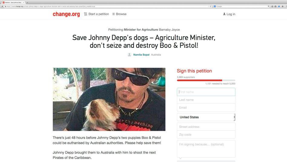 """Screenshot der Petition zur Rettung von Depps Hunden: """"Hab ein Herz, Barnaby"""""""