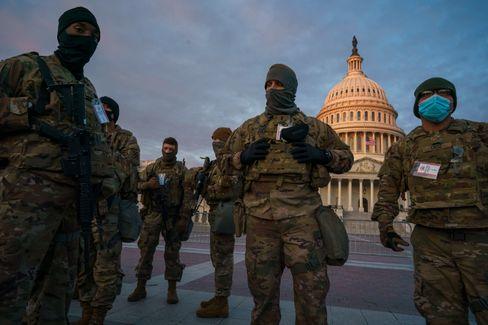 Nationalgardisten in Washington vor der Inauguration