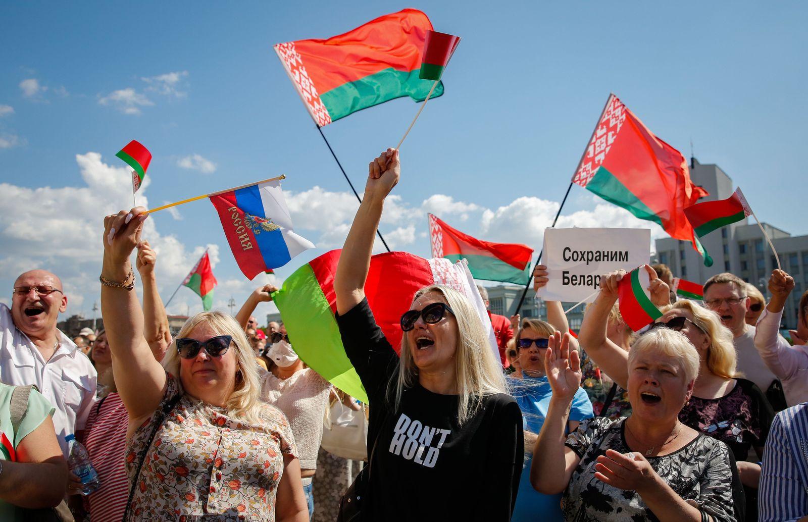 Supporters of Belarusian President Alexander Lukashenko rally in Minsk, Belarus - 16 Aug 2020