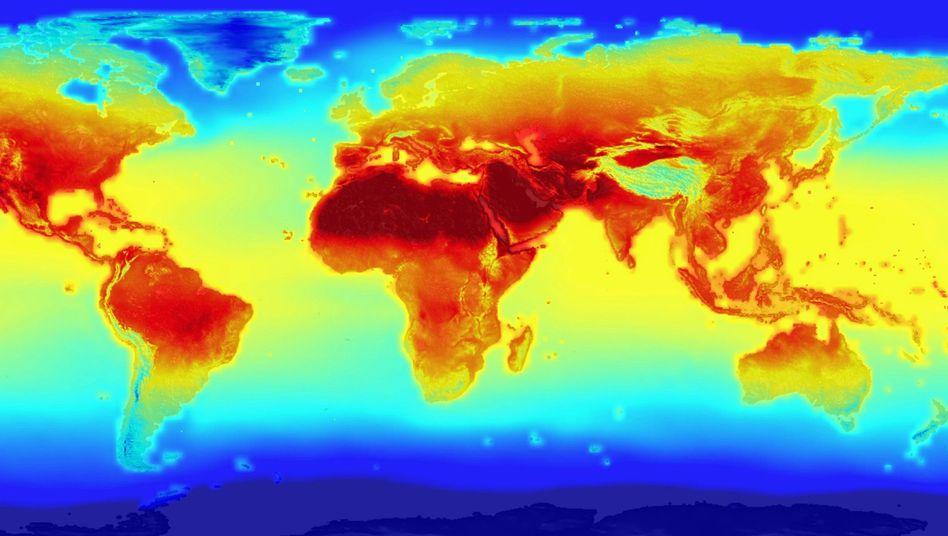 Temperaturveränderung im Jahr 2100 (Simulation)