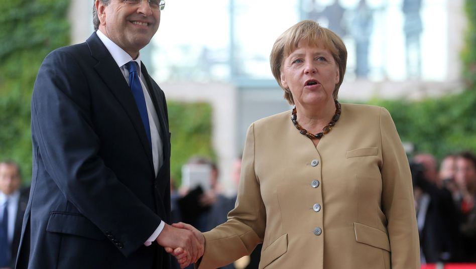Greek Prime Minister Antonis Samaras during a meeting with Chancellor Angela Merkel in Berlin on Aug. 24.