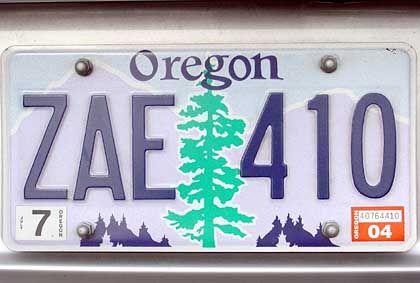 Das Nummernschild Oregons zeigt einen Baum: Der waldreiche Bundesstaat schloss sich 1859 den USA an