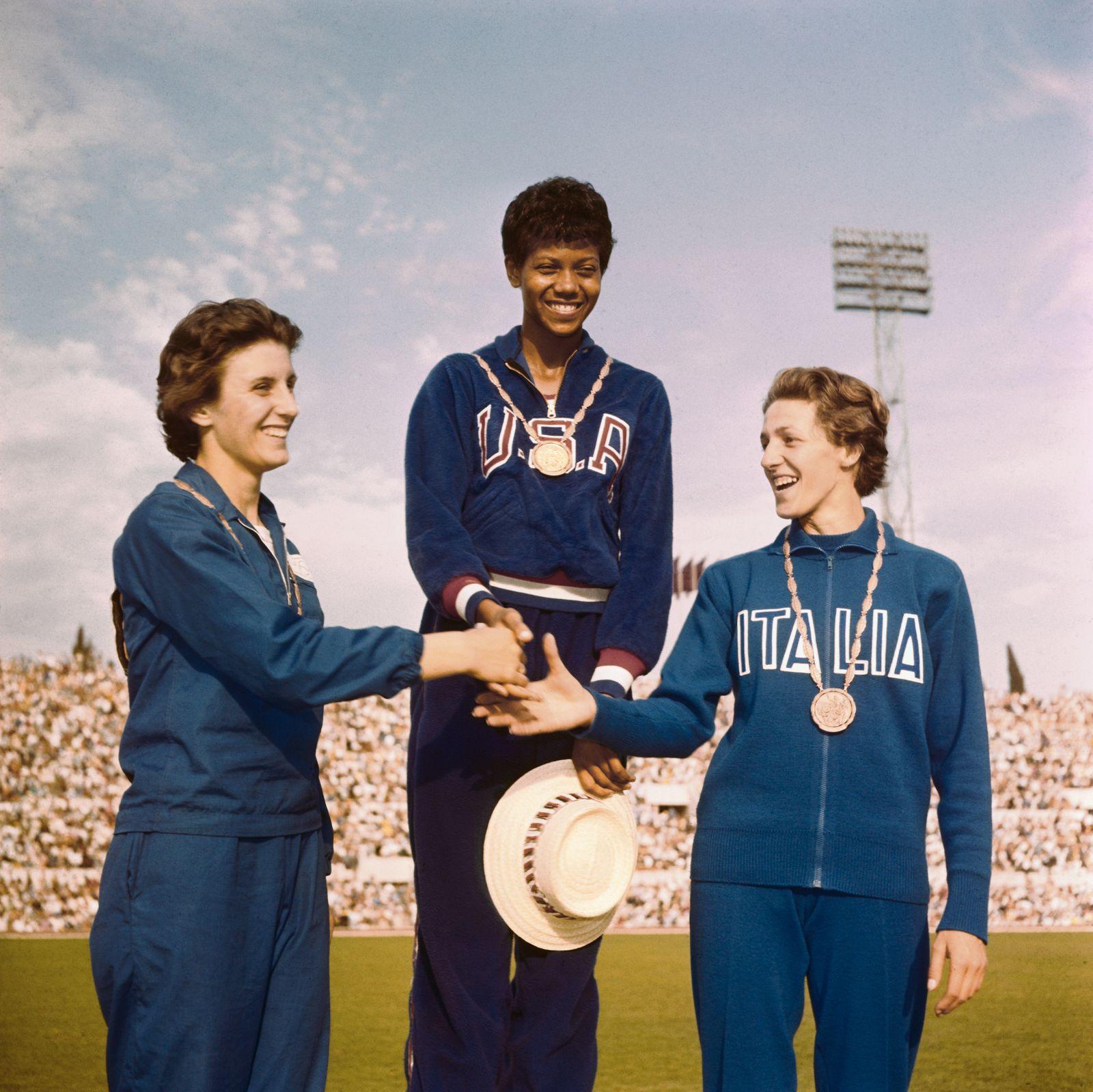 Dorothy Hyman, Wilma Rudolph, Giusseppina Leone Shaking Hands