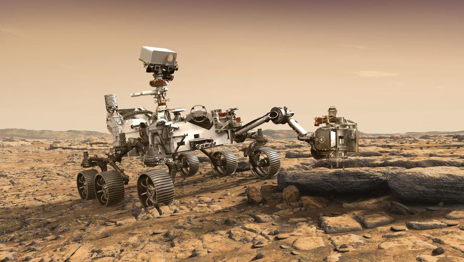"""""""Mars 2020""""-Rover (künstlerische Darstellung)"""
