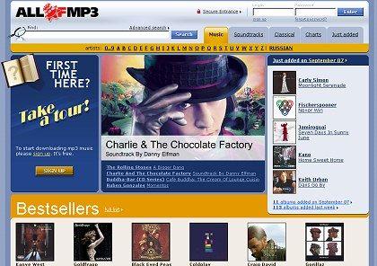 Professionell gestaltete Seite im Gewand eines legalen Download-Shops: Ob Allofmp3 das ist, ist heiß umstritten